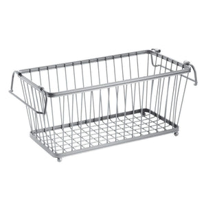 Organize with mdesign household stackable metal wire storage organizer bin basket with built in handles for kitchen cabinets pantry closets bedrooms bathrooms 12 5 wide 6 pack silver