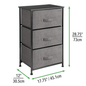 Exclusive mdesign vertical dresser storage tower sturdy steel frame wood top easy pull fabric bins organizer unit for bedroom hallway entryway closets textured print 3 drawers charcoal gray black