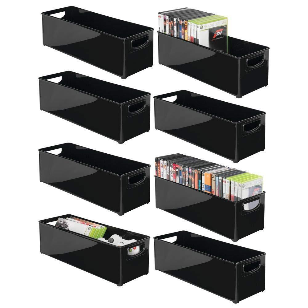 Amazon mdesign plastic stackable household storage organizer container bin with handles for media consoles closets cabinets holds dvds video games gaming accessories head sets 8 pack black
