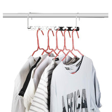 Load image into Gallery viewer, Top rated closet space saving hangers for clothes pants 10 5 inch metal wonder hangers stainless steel magic cascading hanger updated hook design closet organizer hanger