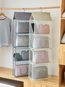 Discover the aoolife hanging purse handbag organizer clear hanging shelf bag collection storage holder dust proof closet wardrobe hatstand space saver 4 shelf grey