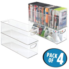 Load image into Gallery viewer, Top rated mdesign plastic stackable household storage organizer container bin with handles for media consoles closets cabinets holds dvds video games gaming accessories head sets 4 pack clear