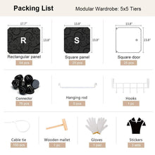 Load image into Gallery viewer, Organize with george danis portable wardrobe clothes closet plastic dresser multi use modular cube storage organizer bedroom armoire black 18 inches depth 5x5 tiers
