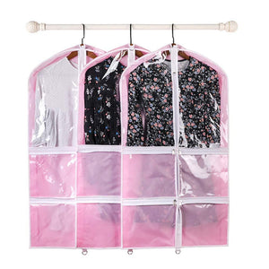 Home qees pink costume garment bag with 4 zipper pockets 37 clear kids garment bags dance costume bags childrens garment costume bags for dance competitions travel and closet storage yfz71 3 pcs
