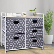 Load image into Gallery viewer, Top rated wide dresser storage tower 5 drawer chest sturdy steel frame wood top easy pull fabric bins organizer unit for bedroom playroom entryway closets lantern printing gray white