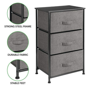 Explore mdesign vertical dresser storage tower sturdy steel frame wood top easy pull fabric bins organizer unit for bedroom hallway entryway closets textured print 3 drawers charcoal gray black