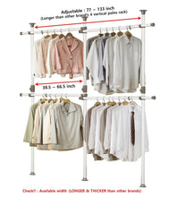 Load image into Gallery viewer, Top rated prince hanger one touch double 2 tier adjustable hanger holds 80kg176lb per horizontal bar clothing rack closet organizer 38mm vertical pole heavy duty garment rack phus 0033