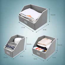 Load image into Gallery viewer, Save woffit linen closet storage organizers set of 3 foldable baskets to organize your sheets towels washclothes blankets clothing sweaters etc 100 organic fabric bins