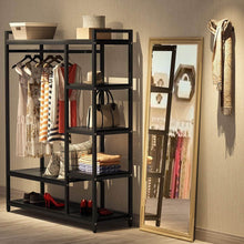 Load image into Gallery viewer, Shop here little tree free standing closet organizer heavy duty closet storage with 6 shelves and handing bar large clothes storage standing garmen rack black