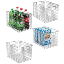 Load image into Gallery viewer, Buy mdesign large heavy duty metal wire storage organizer bin basket built in handles for food storage kitchen cabinet pantry closet bedroom bathroom garage 12 x 9 x 8 pack of 4 chrome