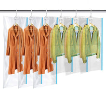 Load image into Gallery viewer, Best mrs bag hanging vacuum storage bags 6 pack 3jumbo57x27 6 3short41 3x27 6 space saver bag dress cover with hook for coats jackets clothes closet storage hand pump included