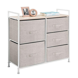 Amazon best mdesign wide dresser storage tower sturdy steel frame wood top easy pull fabric bins organizer unit for bedroom hallway entryway closets textured print 5 drawers linen tan