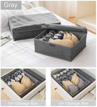 Load image into Gallery viewer, Featured leefe drawer organizer with lids 2 pack foldable divider organizers closet underwear storage box for sortin socks bra scarves and lingerie in wardrobe or under bed breathable washable linen fabric