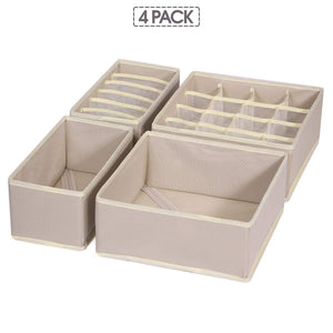The best tenabort foldable drawer organizer dividers cloth storage box closet dresser organizer cube fabric containers basket bins for underwear bras socks panties lingeries nursery baby clothes beige 4 pack