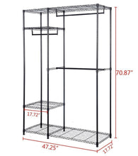 Load image into Gallery viewer, On amazon s afstar safstar heavy duty clothing garment rack wire shelving closet clothes stand rack double rod wardrobe metal storage rack freestanding cloth armoire organizer 2 packs