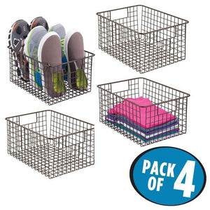 Home mdesign farmhouse vintage metal wire storage basket bin with handles for organizing closets shelves and cabinets in bedrooms bathrooms entryways and hallways 4 pack bronze