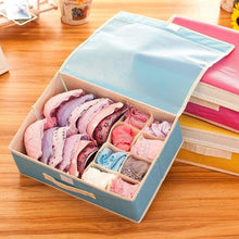 Load image into Gallery viewer, Try kaimao foldable storage boxes drawer dividers closet organisers under bed organiser for underwear bra socks tie scarves with lid blue