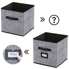 Load image into Gallery viewer, The best onlyeasy foldable cloth storage bins cubes box set of 6 home closet cubby bookcase nursery drawers organizers with label holders and dual leather handles 12x12x12 inch linen like black 7mxab06plp