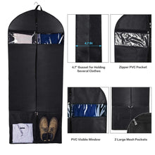 Load image into Gallery viewer, Save on wanapure 60 54 43 garment bags 3 in 1 suit bag with 2 large mesh shoe pockets and accessories pocket trifold suit cover for dress coat jacket closet storage or travel set of 2 black