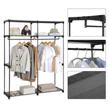 Load image into Gallery viewer, Purchase songmics closet storage organizer portable wardrobe with hanging rods clothes rack foldable cloakroom study stable 55 1 x 16 9 x 68 5 inches gray uryg02gy