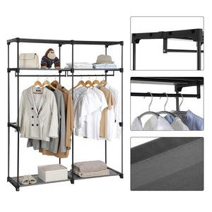 Purchase songmics closet storage organizer portable wardrobe with hanging rods clothes rack foldable cloakroom study stable 55 1 x 16 9 x 68 5 inches gray uryg02gy