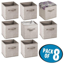 Load image into Gallery viewer, Discover the mdesign small soft fabric closet organizer cube bin box front handle storage for closet bedroom furniture shelving units textured print 11 high 8 pack linen tan