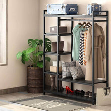 Load image into Gallery viewer, Top rated little tree free standing closet organizer heavy duty closet storage with 6 shelves and handing bar large clothes storage standing garmen rack black