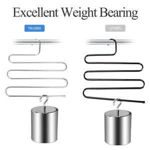 Cheap trusber stainless steel pants hangers s shape metal clothes racks with 5 layers for closet organization space saving for pants jeans trousers scarfs durable and no distortion silver pack of 5