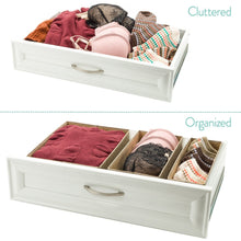 Load image into Gallery viewer, Shop for drawer storage bins set of 3 decorative closet organizer bins fabric drawer dividers easy to open and folds flat for storage great drawer organizer for storing underwear socksbeige