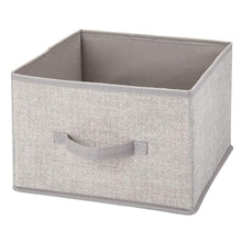 Load image into Gallery viewer, Home mdesign soft fabric closet storage organizer holder cube bin box open top front handle for closet bedroom bathroom entryway office textured print 10 pack linen tan