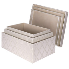 Load image into Gallery viewer, Shop here toys storage bins 3 pcs set fabric decorative storage boxes with lids shelf closet organizer basket decor nesting boxes stylish gift boxes with lids large medium small sizes off white