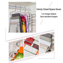 Load image into Gallery viewer, Shop eityilla s type clothes pants hangers stainless steel space saving hangers 5 layers closet storage organizer for jeans trousers tie belt scarf 6 pieces