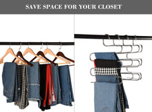 Load image into Gallery viewer, Featured multi purpose pants hangers ceispob s type 5 layers stainless steel clothes hangers storage pant rack closet space saver for trousers jeans towels scarf tie 4 pack