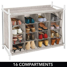 Load image into Gallery viewer, Organize with mdesign soft fabric shoe rack holder organizer 16 cube storage shelf for closet entryway mudroom garage kids playroom metal frame easy assembly closet organization linen white