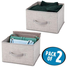 Load image into Gallery viewer, Shop mdesign soft fabric closet storage organizer holder cube bin box open top front handle for closet bedroom bathroom entryway office textured print 2 pack linen tan