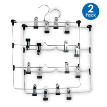 Load image into Gallery viewer, Selection lohas home 4 tier skirt hangers pants hangers closet organizer stainless steel fold up space saving hangers 2 pieces