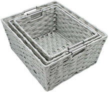 Load image into Gallery viewer, Top rated sorbus woven basket bin set storage for home decor nursery desk countertop closet cube organizer shelf stackable baskets includes built in carry handles set of 3 light gray