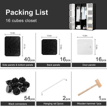 Load image into Gallery viewer, Shop honey home modular plastic storage cube closet organizers portable diy wardrobes cabinet shelving with doors for bedroom office 16 cubes black white