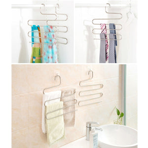Explore multi purpose pants hangers ceispob s type 5 layers stainless steel clothes hangers storage pant rack closet space saver for trousers jeans towels scarf tie 4 pack