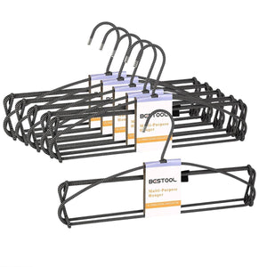 Discover the best bestool hangers heavy duty pant hangers non slip space saving trouser hanger wire stainless steel flocked hangers for men women and kids clothes 4 tier laundry closet hanger 6 pack