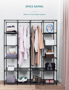 Home aoou closet organizer wardrobe closet portable closet closet organizers and storage with non woven fabric easy to assemble 56 x 18 5 x 66 inches black