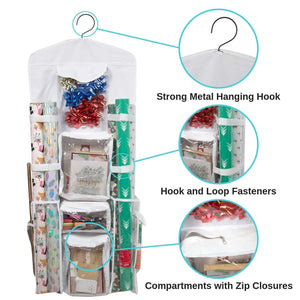 Purchase houseables wrapping paper storage gift wrap organizer 10 pockets 43 x 17 white clear plastic home closet organization hanging craft holder for christmas decorations ornaments ribbons
