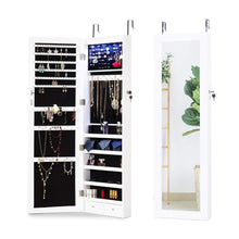 Load image into Gallery viewer, Get cloud mountain jewelry cabinet 6 leds jewelry armoire lockable wall door mounted jewelry cabinet organizer with mirror 2 drawers bedroom living room cloakroom closet white