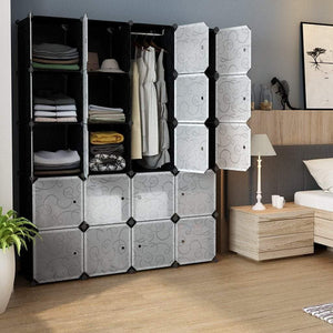 New langria 20 storage cube organizer wardrobe modular closet plastic cabinet cubby shelving storage drawer unit diy modular bookcase closet system with doors for clothes shoes toys black and white