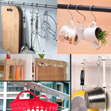 Load image into Gallery viewer, Shop kitovet medium s hooks heavy duty stainless steel s shaped hanging hooks for hanging metal kitchen pot pan hanger storage rack closet s type hooks multiple uses