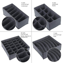 Load image into Gallery viewer, Related titan mall closet underwear organizer drawer foldable storage box drawer dividers dresser drawer organizers for underwear bras grey set of 4 dark grey