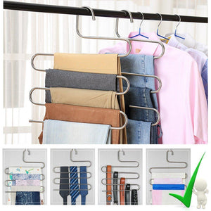 Storage organizer 4 pack s type hanger for clothing closet storage stainless steel pants hangers with 5 layers multi purpose loveyal limited space storage rack for trousers towels scarfs ties jeans 4