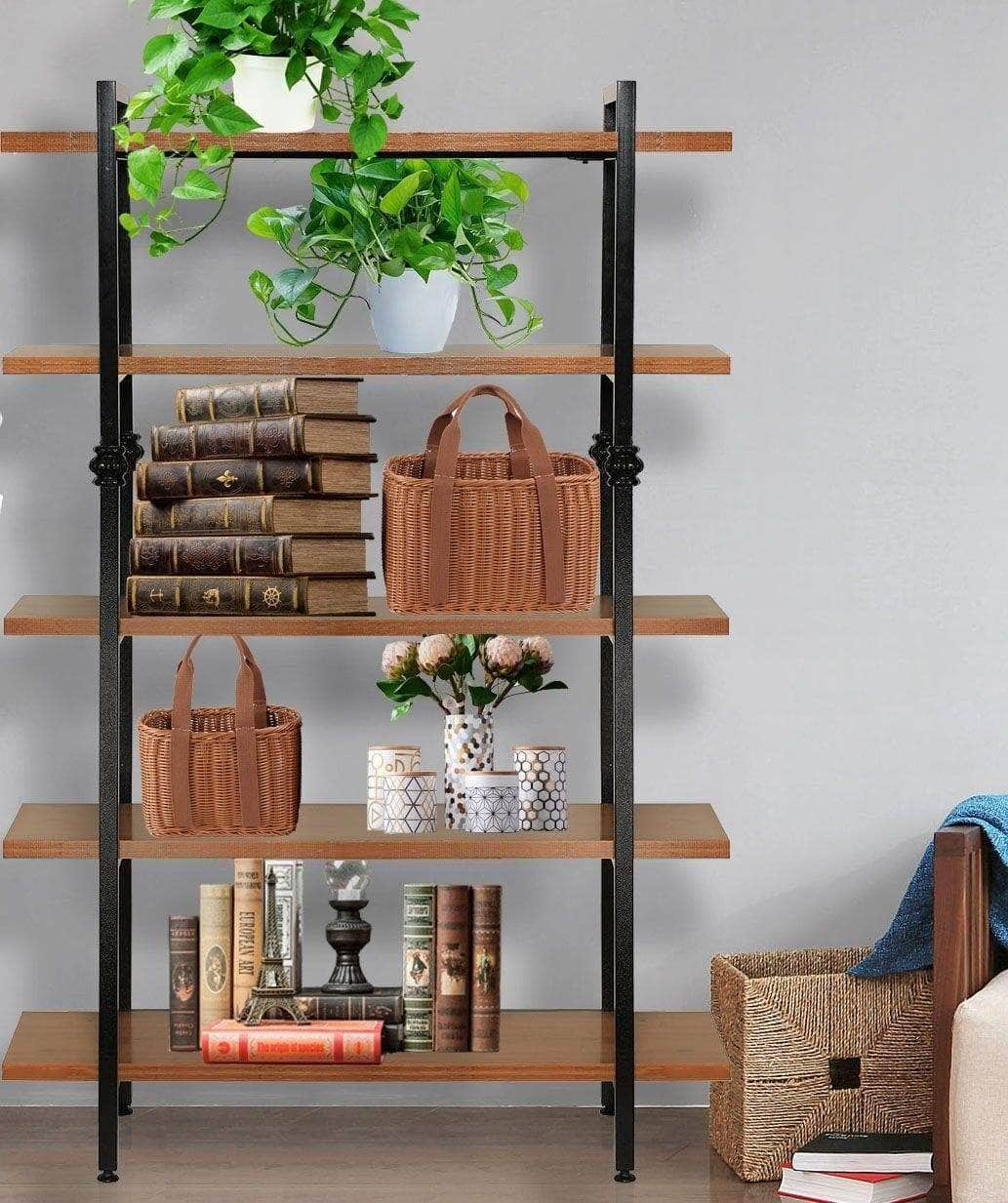 Try sprawl 5 tier vintage bookshelf free standing multi purpose open wooden book storage shelves ladder shelf closet organizer