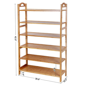 Best seller  songmics bamboo wood shoe rack 6 tier 18 24 pairs entryway standing shoe shelf storage organizer for kitchen living room closet ulbs26n