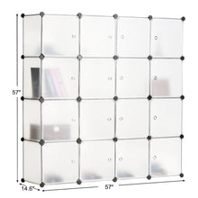Load image into Gallery viewer, Amazon best bastuo 16 cubes diy storage cabinet clothes wardrobe closet bookcase shelf baskets modular cubes closet for toys books clothes white with doors